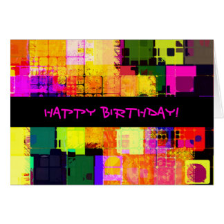 Square Geometric Happy Birthday Card