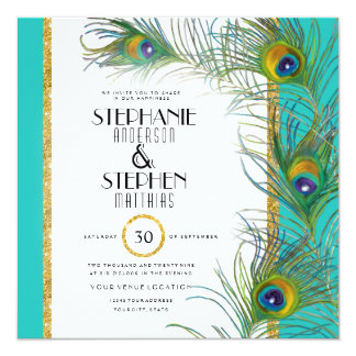 Square Gold Peacock Feather Modern Typography Invitation