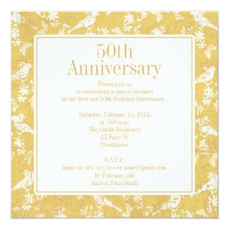 Square Golden 5oth Wedding Anniversary Invitation