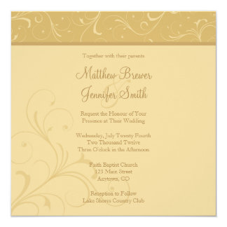 Square Golden Yellow Flourish Wedding Invitation Custom Announcements