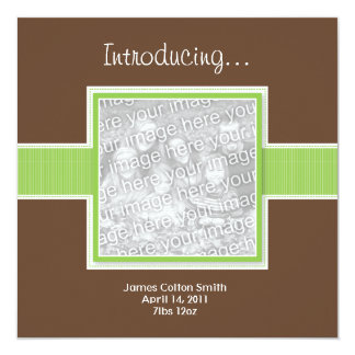 Square Green and Brown Birth Announcement