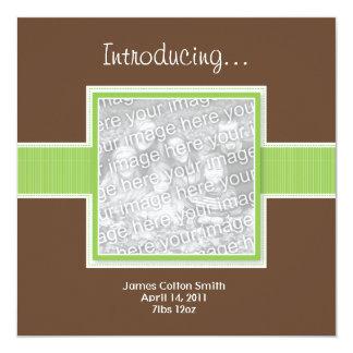 """Square Green and Brown Birth Announcement 5.25"""" Square Invitation Card"""