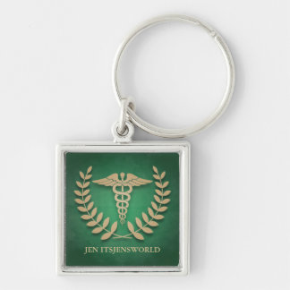 Square Green & Gold Medical Caduceus Custom Keychain