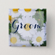 Square Groom Floral Wedding Buttons With Daisy