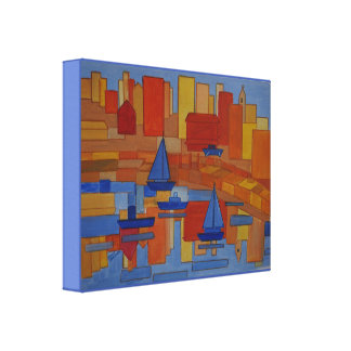 Square Harbor abstract cubic style art Canvas Print