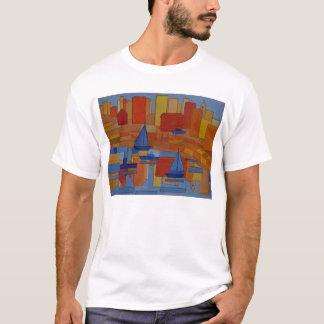 Square Harbor abstract cubic style art T-Shirt