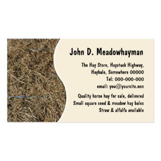 Square hay bales close-up business card