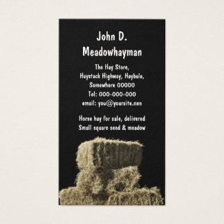 Square hay bales in a stack black background business card