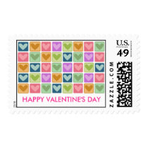 Square Hearts Happy Valentine's Day Postage