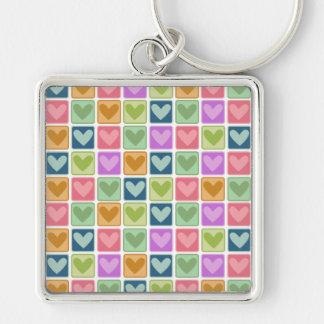 Square Hearts Valentine Keychain