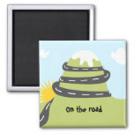 Square hitchhiker one swipes in the road refrigerator magnet