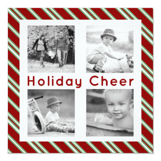 Square Holiday Cheer 4 Photo Flat Cards