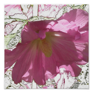 """Square Hollyhock """"Stained Glass"""" Print"""