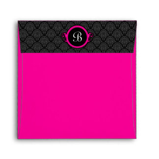 Square Hot Pink Damask Flap Monogram Envelopes
