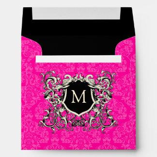 Square Hot Pink Damask Monogram Crest Envelopes