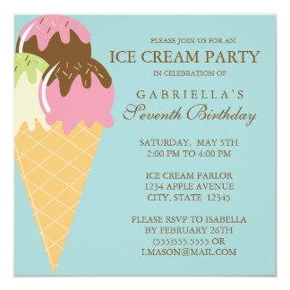 """Square Ice Cream Party Birthday Invitation 5.25"""" Square Invitation Card"""