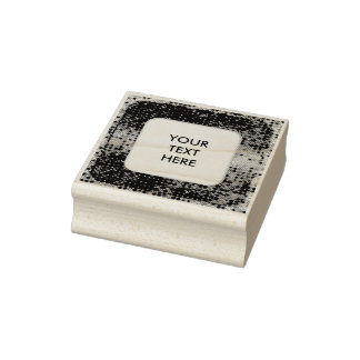 Square in Square Frame dots 2 + your photo Rubber Stamp