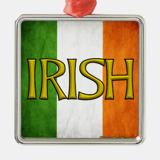 Square Irish Flag Collage Metal Ornament