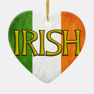Square Irish Flag Collage Double-Sided Heart Ceramic Christmas Ornament