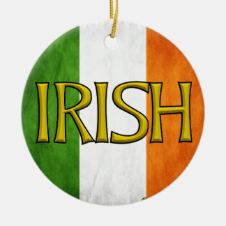 Square Irish Flag Collage Double-Sided Ceramic Round Christmas Ornament