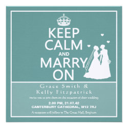 Square Keep Calm and Marry On Wedding Invitation