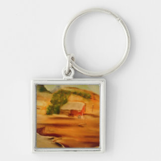 Square Keychain(Faraway) Silver-Colored Square Keychain