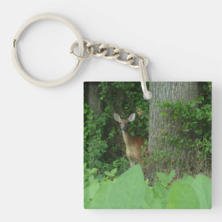 Square Keychain featuring a deer
