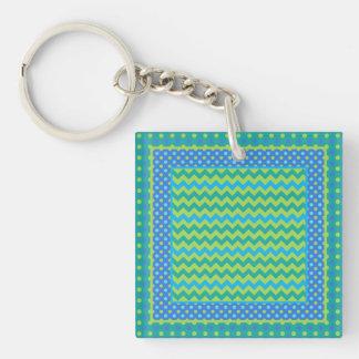 Square Keychain: Mix'n'Match Chevrons, Polka Dots Keychain