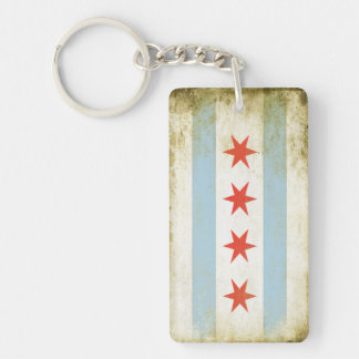 Square Keychain with Distressed Chicago Flag Print