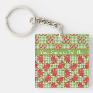 Square Keyring to Personalize: Cute Red Dragons