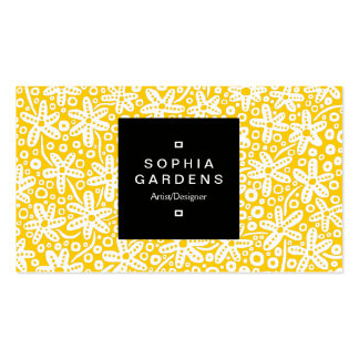 Square Label 01a - Flower Patt - Wt on Amber Double-Sided Standard Business Cards (Pack Of 100)