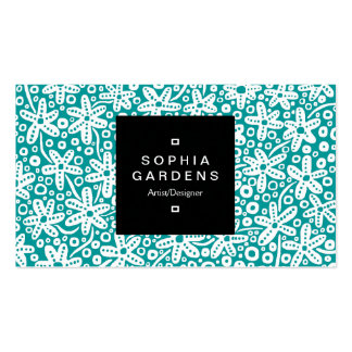 Square Label 01a - Flower Patt - Wt on Turquoise Double-Sided Standard Business Cards (Pack Of 100)