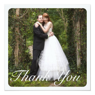 Square Large Photo Wedding Thank You in White Card
