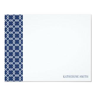 Square Lattice Geometric Pattern {Midnight Blue} Card