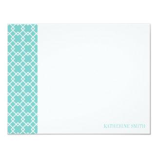 Square Lattice Geometric Pattern {Mint} 4.25x5.5 Paper Invitation Card
