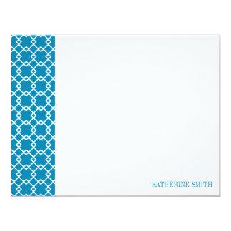 Square Lattice Geometric Pattern {Ocean Blue} Card