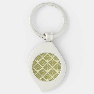 Square Leaf Pattern Gold Lime Light Keychain