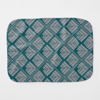 Square Leaf Pattern Teal Neutral Baby Burp Cloth