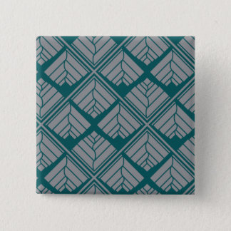 Square Leaf Pattern Teal Neutral Pinback Button