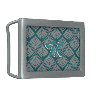Square Leaf Pattern Teal Neutral Rectangular Belt Buckle