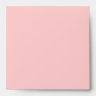 Square Light Pink Damask Flap Monogram Envelopes