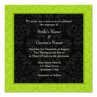 Square Lime Greeen Damask Monogram Wedding Invites
