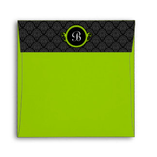 Square Lime Green Damask Flap Monogram Envelopes
