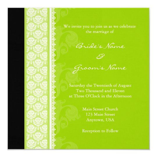 Square Lime Green Damask Wedding Invitations