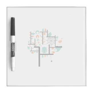 Square line tree with birds leaves spider owl Dry-Erase board