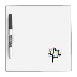 Square line tree with birds leaves spider owl dry erase board