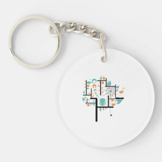 Square line tree with birds leaves spider owl keychain