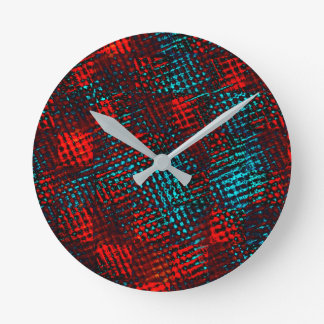 Square-lined scratched out in blue red and clearly round clock
