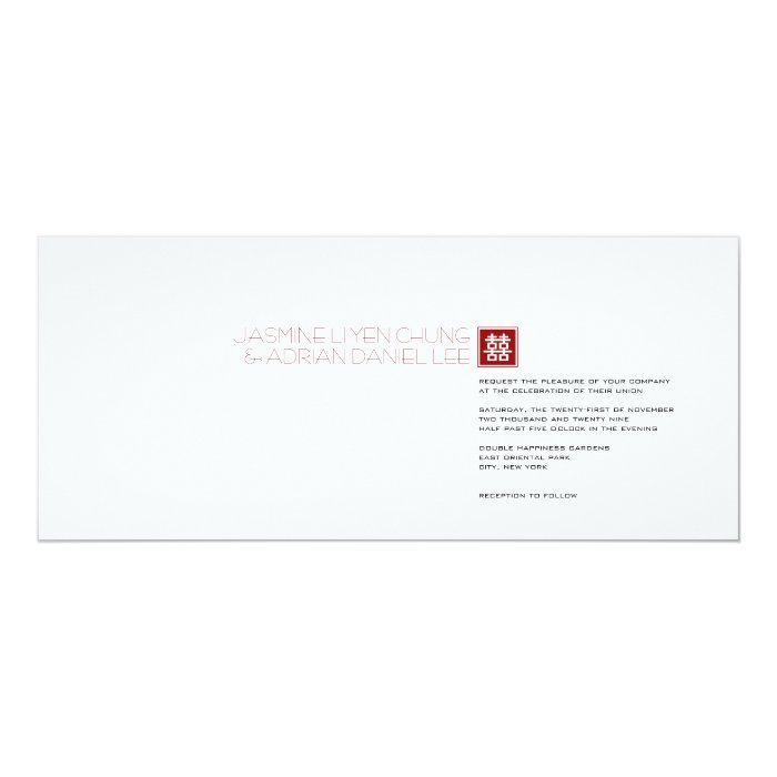 Square Logo Double Happiness Chinese Wedding Card