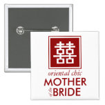 Square Logo Double Happiness Chinese Wedding Pins